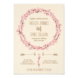Cherry Blossom Flower Wreath Rustic Wedding Card