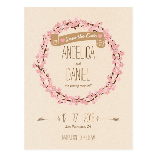 Cherry Blossom Flower Wreath Rustic Wedding Postcard