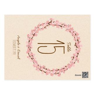 Cherry Blossom Flower Wreath Rustic Wedding Postcard