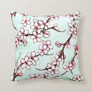 Cherry Blossom Flowering Branch Throw Pillow