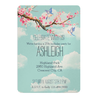 Cherry Blossom Flowers and Birds birthday 13 Cm X 18 Cm Invitation Card