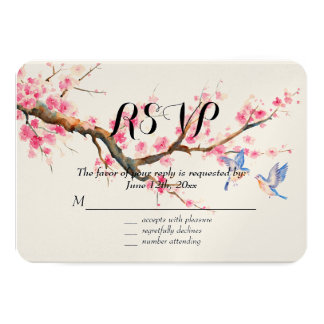 Cherry Blossom Flowers and Birds RSVP Card