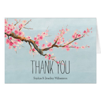 Cherry Blossom Flowers and Birds Thank you Card