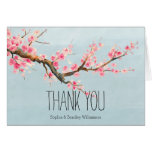 Cherry Blossom Flowers and Birds Thank you Note Card