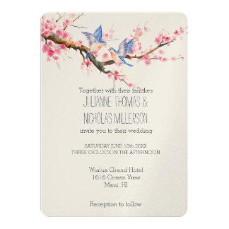 Cherry Blossom Flowers and Birds Wedding 13 Cm X 18 Cm Invitation Card