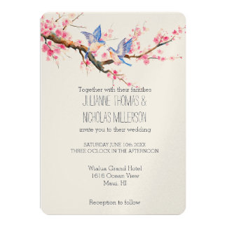 Cherry Blossom Flowers and Birds Wedding Card