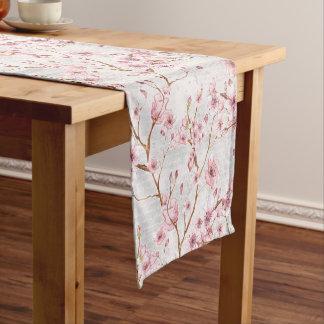 Cherry Blossom Flowers Branch Pink Blooms Short Table Runner