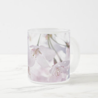 Cherry Blossom Frosted Glass Coffee Mug