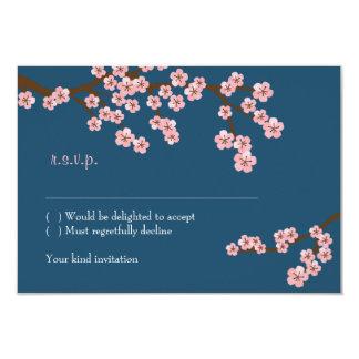 Cherry Blossom Garden (Navy) RSVP w/ envelopes 9 Cm X 13 Cm Invitation Card