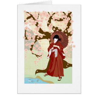 cherry blossom geisha card