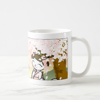 Cherry Blossom Geisha Kitty Basic White Mug