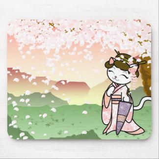 Cherry Blossom Geisha Kitty Mouse Mat