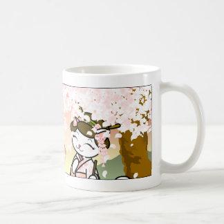 Cherry Blossom Geisha Kitty Basic White Mug
