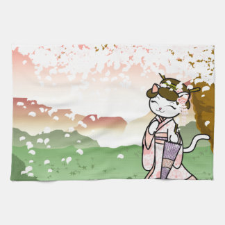 Cherry Blossom Geisha Kitty Tea Towel