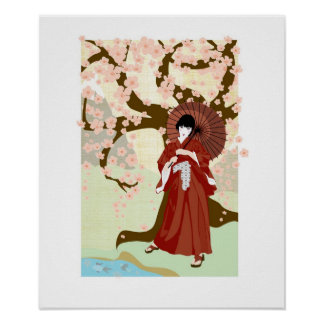 cherry blossom geisha posters