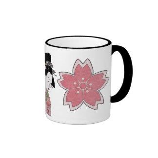 Cherry Blossom Geisha Ringer Mug