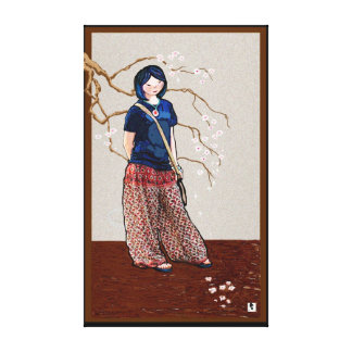 cherry blossom girl brown version stretched canvas prints