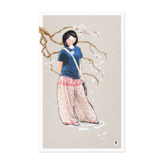cherry blossom girl light version gallery wrapped canvas