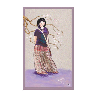 cherry blossom girl mauve pink version canvas print
