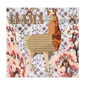 Cherry Blossom Golden Llama Canvas Gallery Wrap Canvas