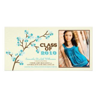 Cherry Blossom Graduation Announcement (aqua) Card