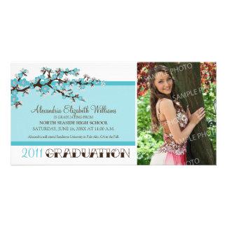 Cherry Blossom Graduation Announcement (aqua) Personalized Photo Card