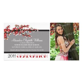Cherry Blossom Graduation Announcement (black) Customised Photo Card
