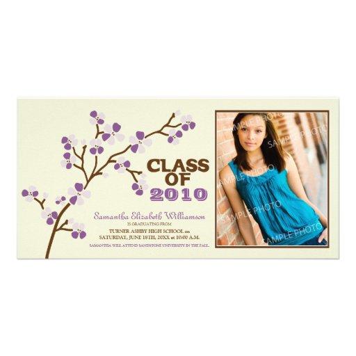 Cherry Blossom Graduation Announcement (purple) Custom Photo Card