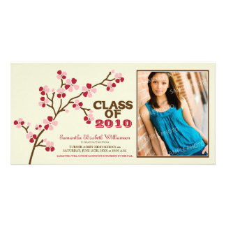 Cherry Blossom Graduation Announcement (red) Card