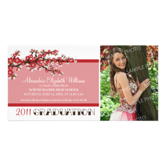 Cherry Blossom Graduation Announcement (red) Customised Photo Card