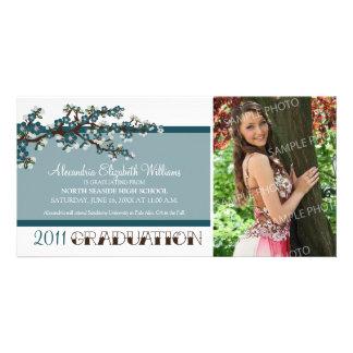 Cherry Blossom Graduation Announcement (teal) Customised Photo Card