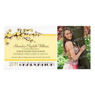 Cherry Blossom Graduation Announcement (yellow) Picture Card