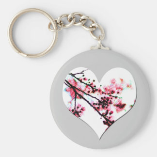 Cherry Blossom Heart Basic Round Button Key Ring