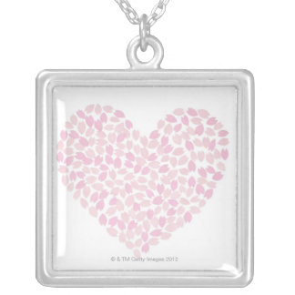 Cherry Blossom Heart Silver Plated Necklace