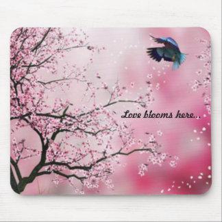 Cherry Blossom Hummingbird Mousepad