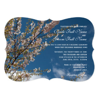 cherry blossom in blue sky wedding invitations. announcements