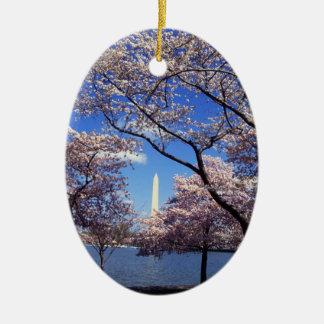 Cherry blossom in Washington DC Ceramic Oval Decoration