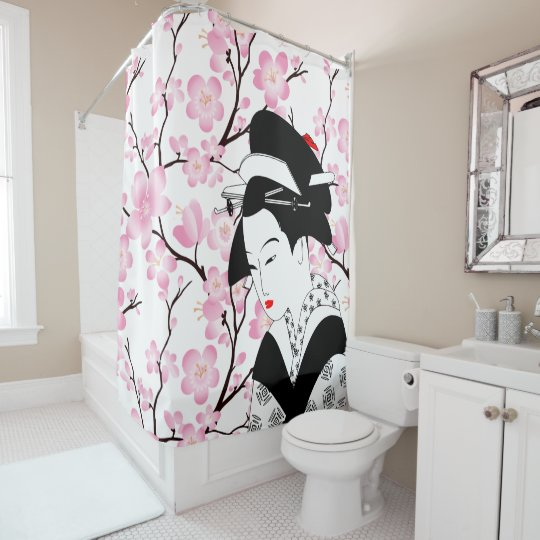 cherry blossom japanese geisha pink black white 3