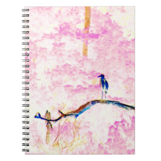 Cherry Blossom Landscape with Bird Notebook