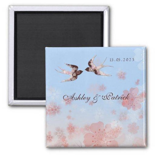 Cherry Blossom Love Swallows Wedding Magnet