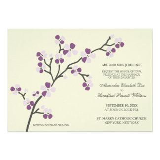 Cherry Blossom Modern Wedding Invitation purple