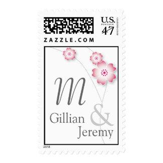 Cherry Blossom Monogram Custom Postage Stamps