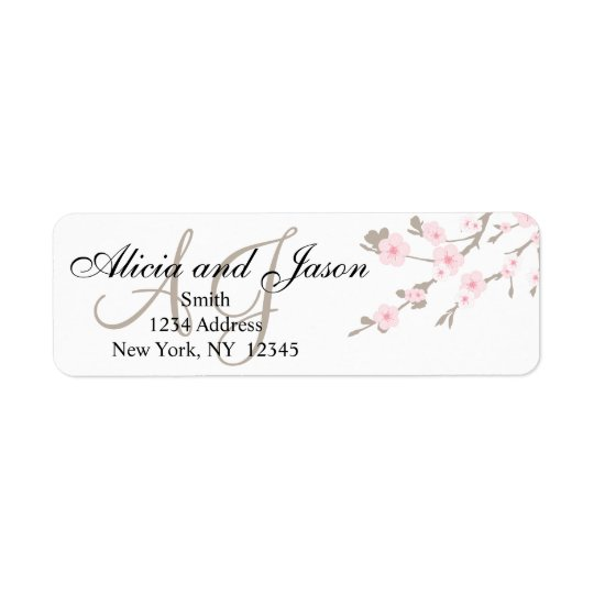 Cherry Blossom Monogram Return Address Labels