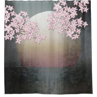Cherry Blossom Moon Design Asian shower curtain