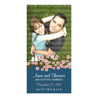 Cherry Blossom (Navy) Save the Date Photo Customised Photo Card