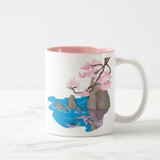 Cherry Blossom Near Stream With Rocks Mug