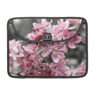 Cherry Blossom on Black and White Background Sleeves For MacBook Pro