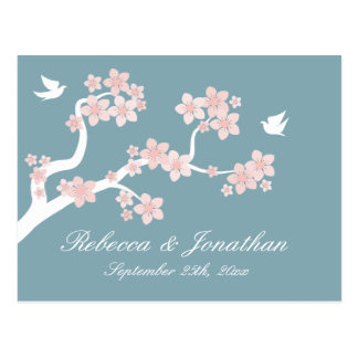Cherry Blossom on blue RSVP postcard
