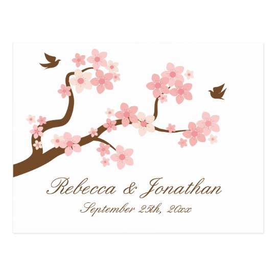 Cherry Blossom on white RSVP postcard