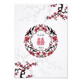 Cherry Blossom Oriental Wedding 13 Cm X 18 Cm Invitation Card